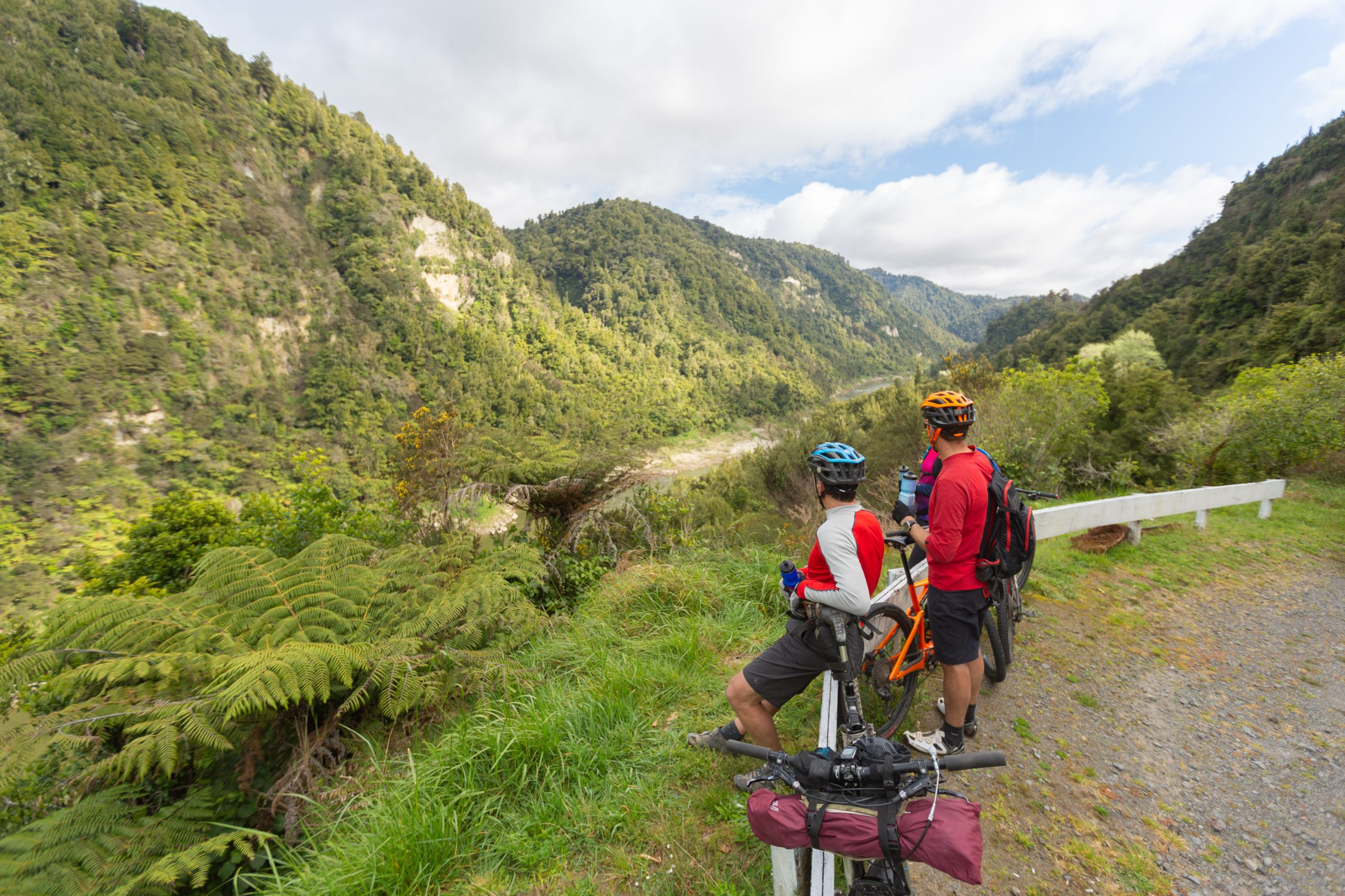 Two mountain bikers taking a break and enjoying the view of the Whanganui River valley