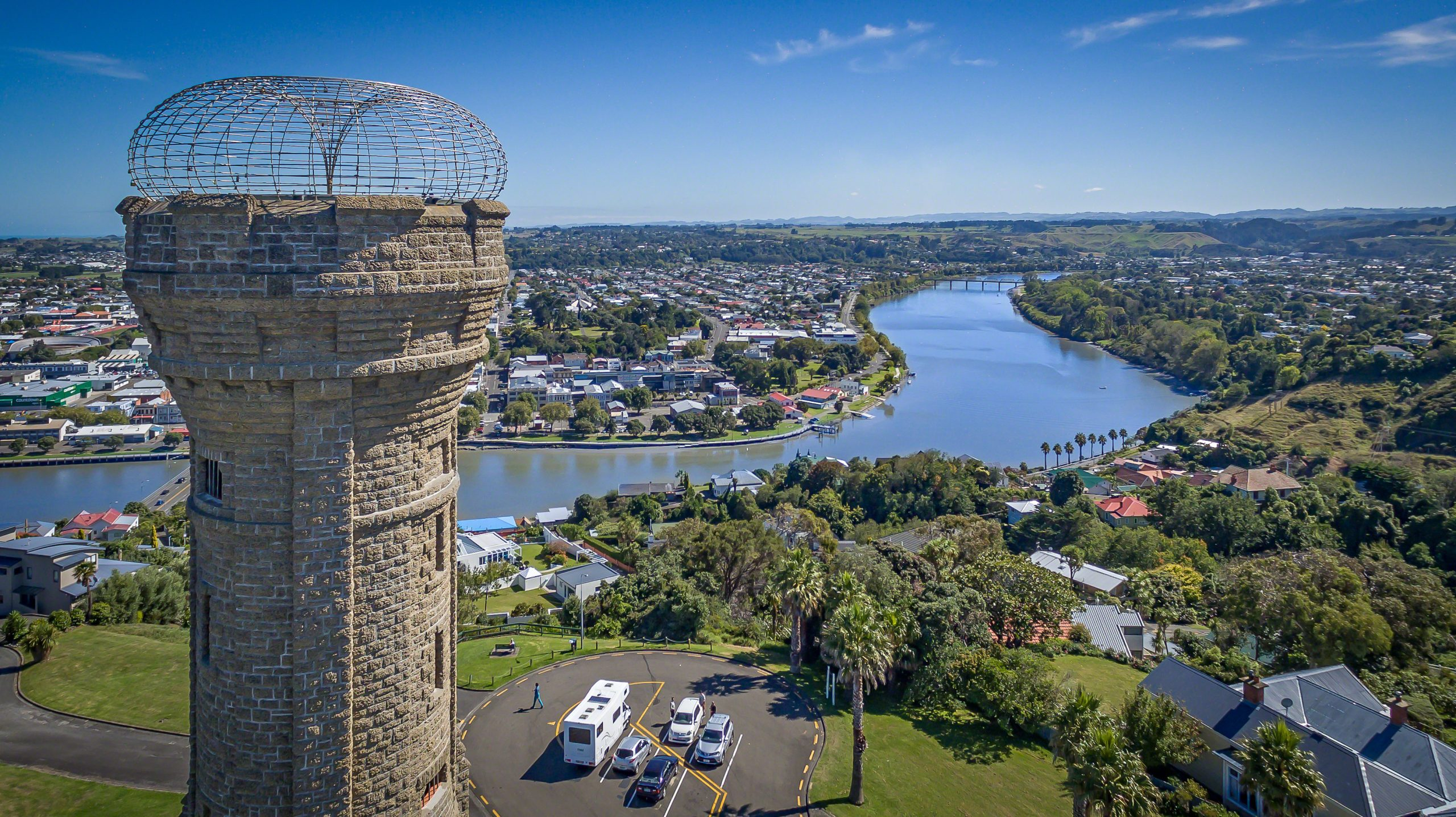 View of tower, river and city of Whanganui